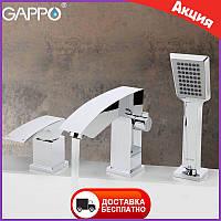 Смеситель на борт ванны с душем врезной Gappo Jacob G1107. Смеситель на борт акриловой ванны - 3 отверстия