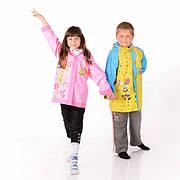 Детские дождевики, костюмы и пончо из винила с яркими картинками