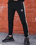 Спортивні штани в стилі Adidas Thre line чорні., фото 2
