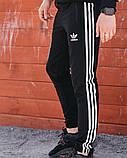 Спортивні штани в стилі Adidas Thre line чорні., фото 4