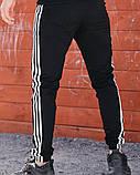 Спортивні штани в стилі Adidas Thre line чорні., фото 5