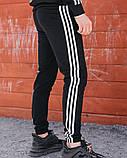 Спортивні штани в стилі Adidas Thre line чорні., фото 6