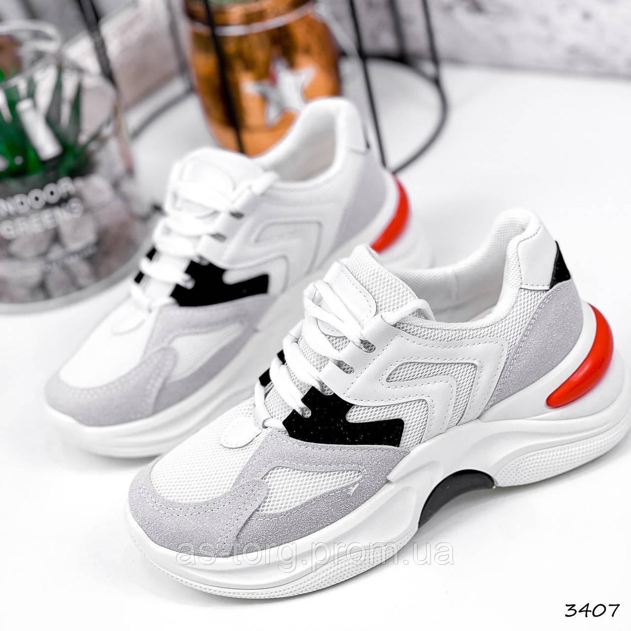 Кросівки жіночі Marit білі + сірий + чорний + червоний 3407
