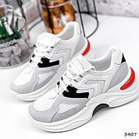 Кросівки жіночі Marit білі + сірий + чорний + червоний 3407, фото 1