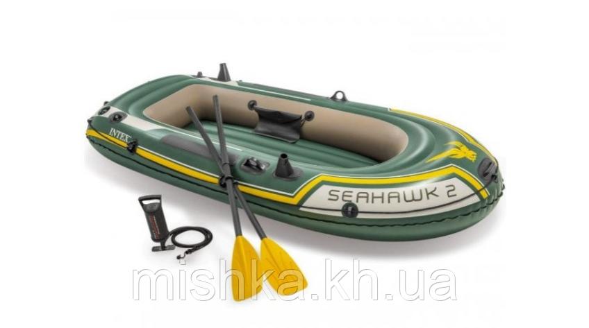 """Двомісний човен надувний Intex """"Seahawk 2 SET"""", 68347, з насосом і веслами, 236*114*37 см"""