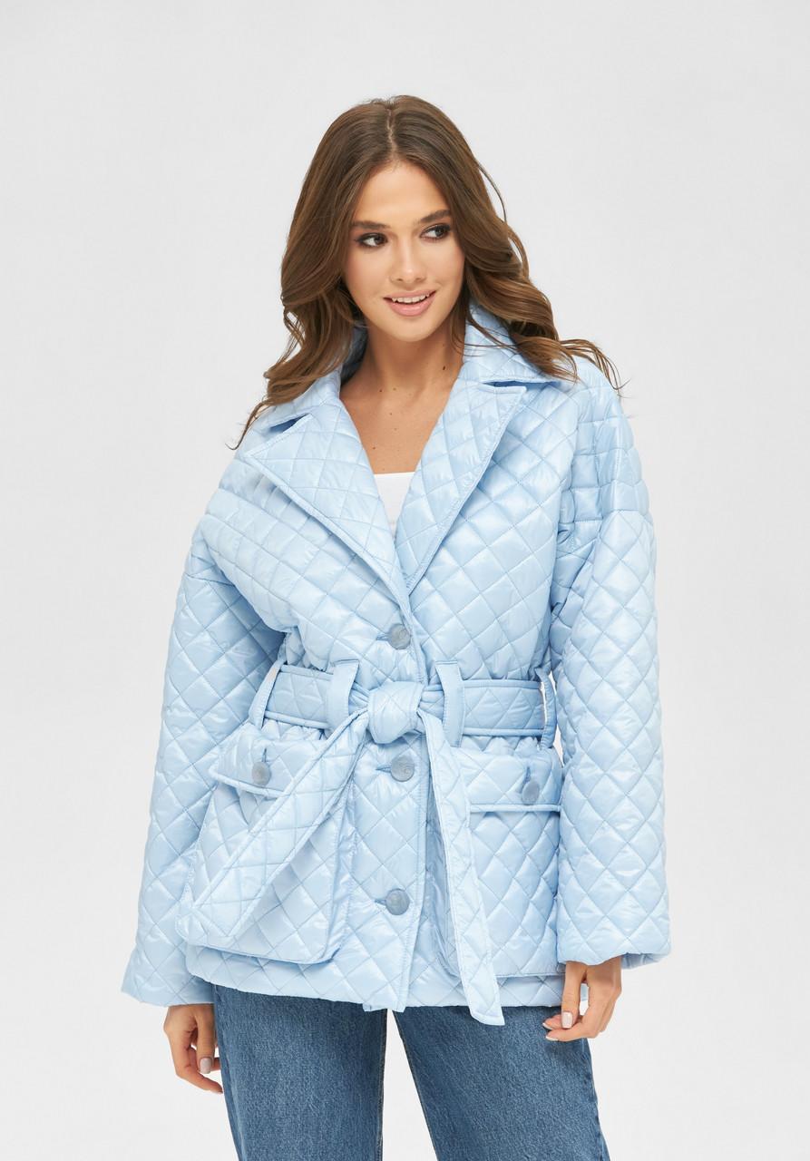 Стильная женская демисезонная стеганая куртка голубого цвета