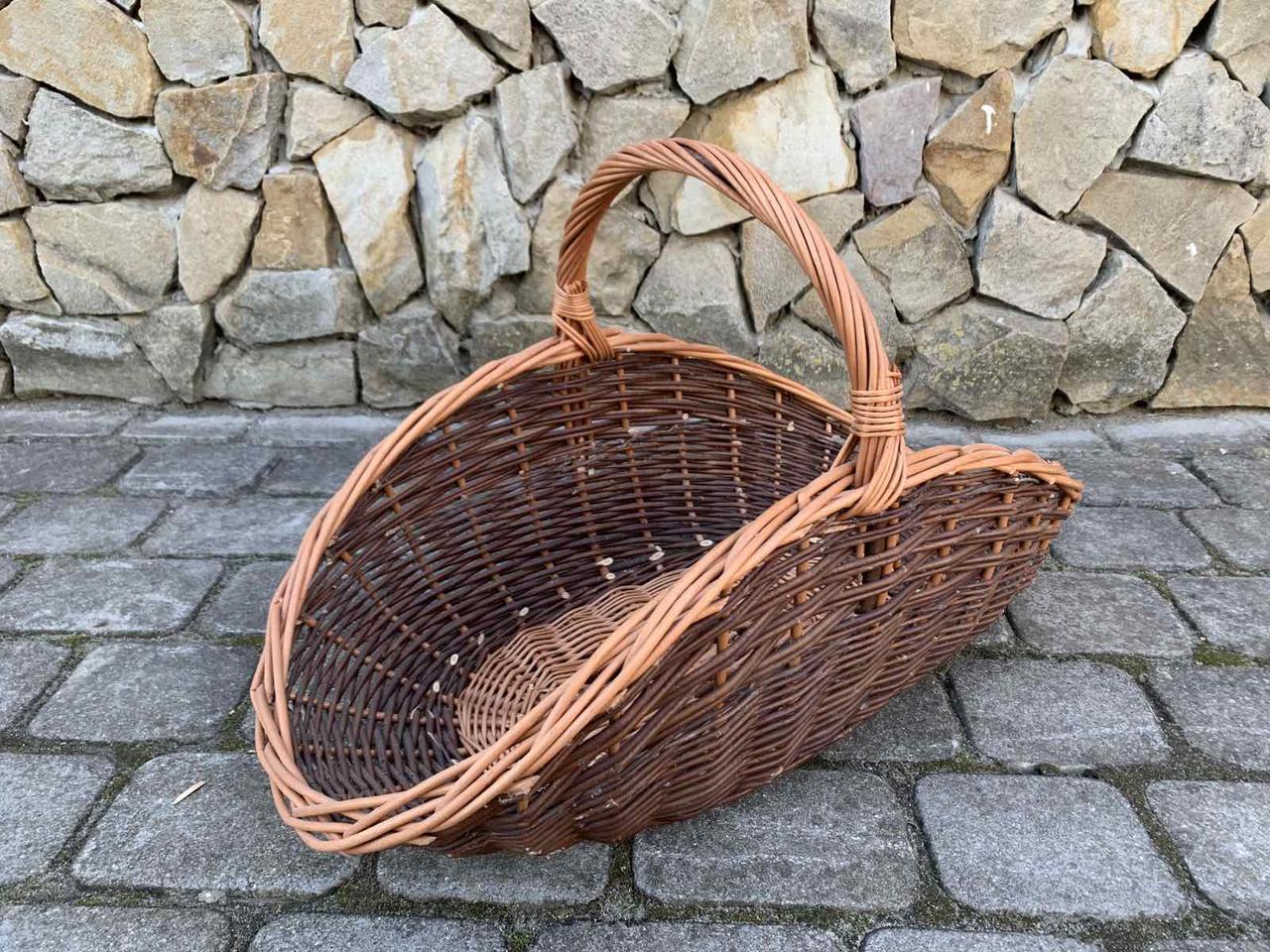 Кошик з натуральної лози для дров темно-коричнева розмір M 59х33 см Польща