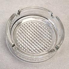 Кругла скляна попільничка з рифленим дном ОСЗ (4c1162), фото 3