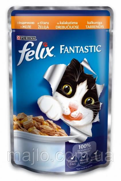 Вологий корм для кішок Purina Felix Fantastic з індичкою в желе 100 г