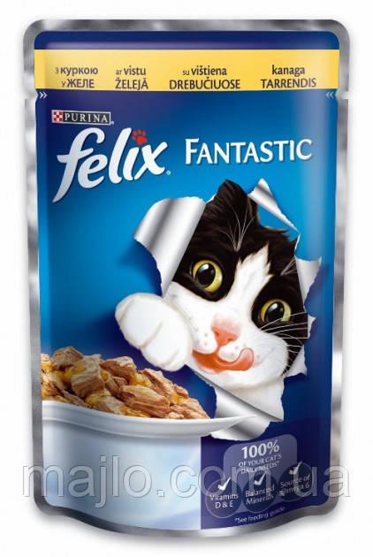 Влажний корм для кішок Purina Felix Fantastic з куркою в желе 100 г