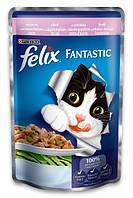 Влажный корм  для кошек Purina Felix Fantastic с форелью и зелеными бобами в желе 100 г