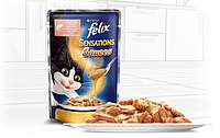 Вологий корм для кішок Purina Felix Sensations Sauces з лососем в соусі зі смаком креветок 100 г