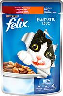 Вологий корм для кішок Purina Felix Fantastic Duo з індичкою і печінкою шматочки в желе 100 г