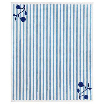 Ігровий коврик IKEA з принтом в полоску, біло-блакитний 133x160 см