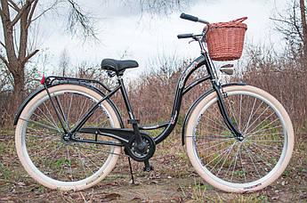 Велосипед женский городской VANESSA Vintage 26 Black с корзиной Польша