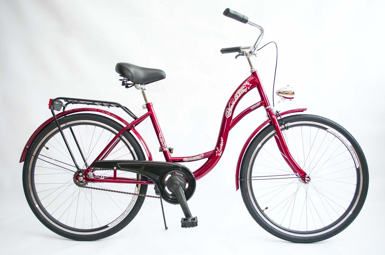 Велосипед жіночий міський VANESSA 26 Red з кошиком Польща