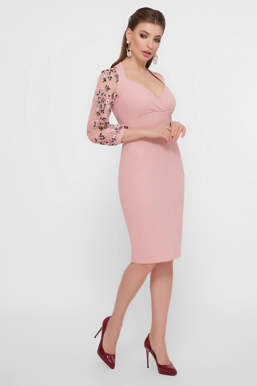 Нарядное  платье  с кружевными рукавами розовое  Флоренция В д/р