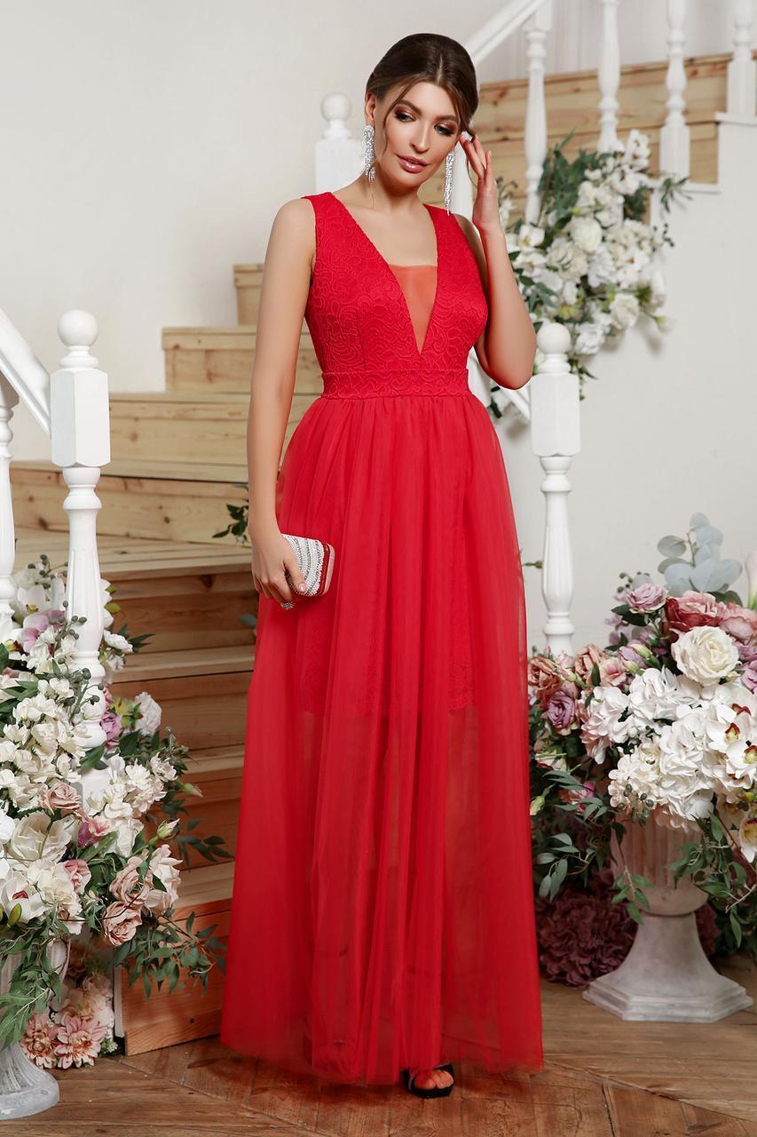 Вечернее длинное красное  платье Шелли б/р