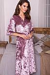 Женский велюровый  халат розовый  Рита к/р, фото 2