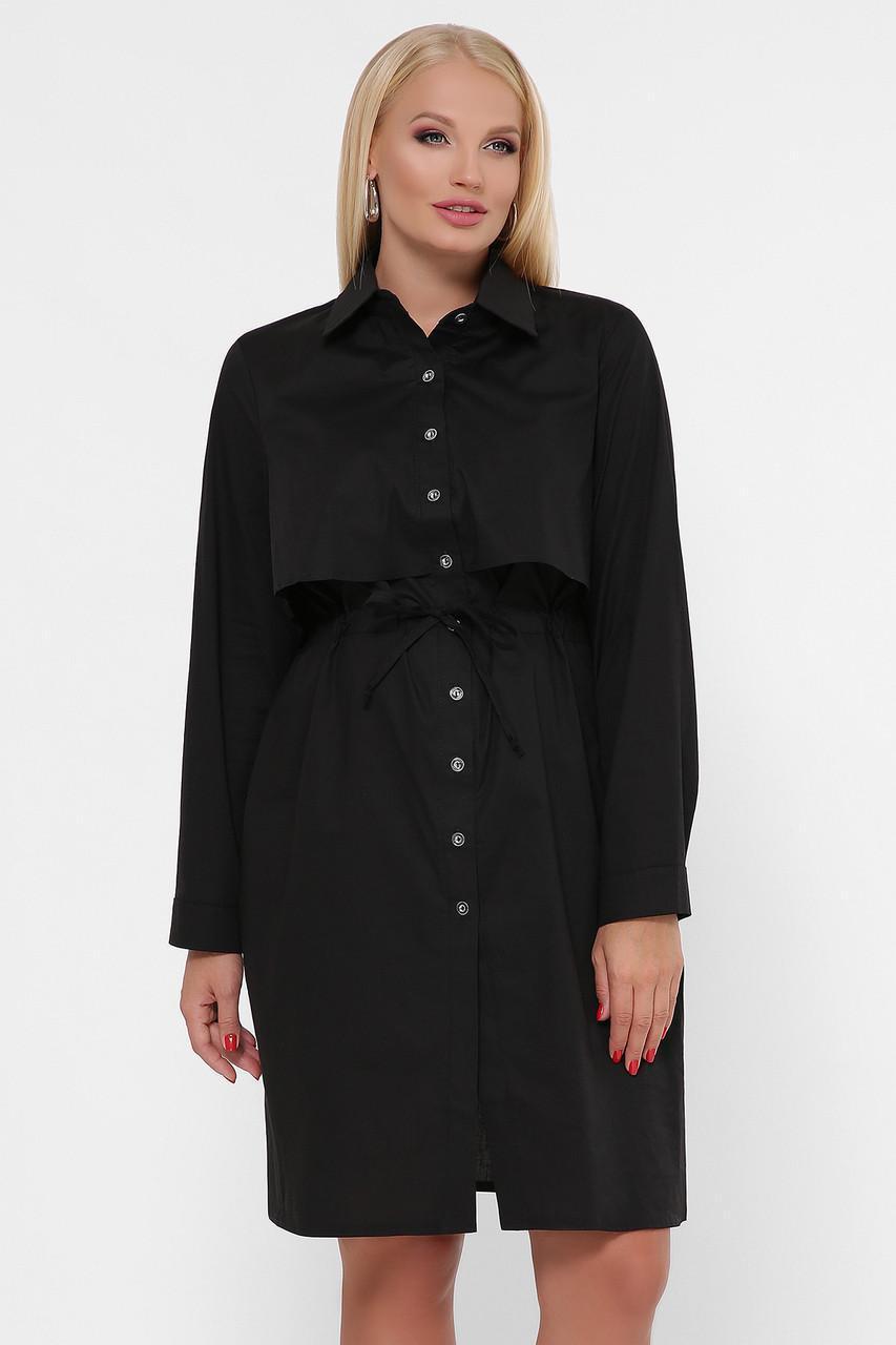 Платье-рубашка черное длинный рукав 0301