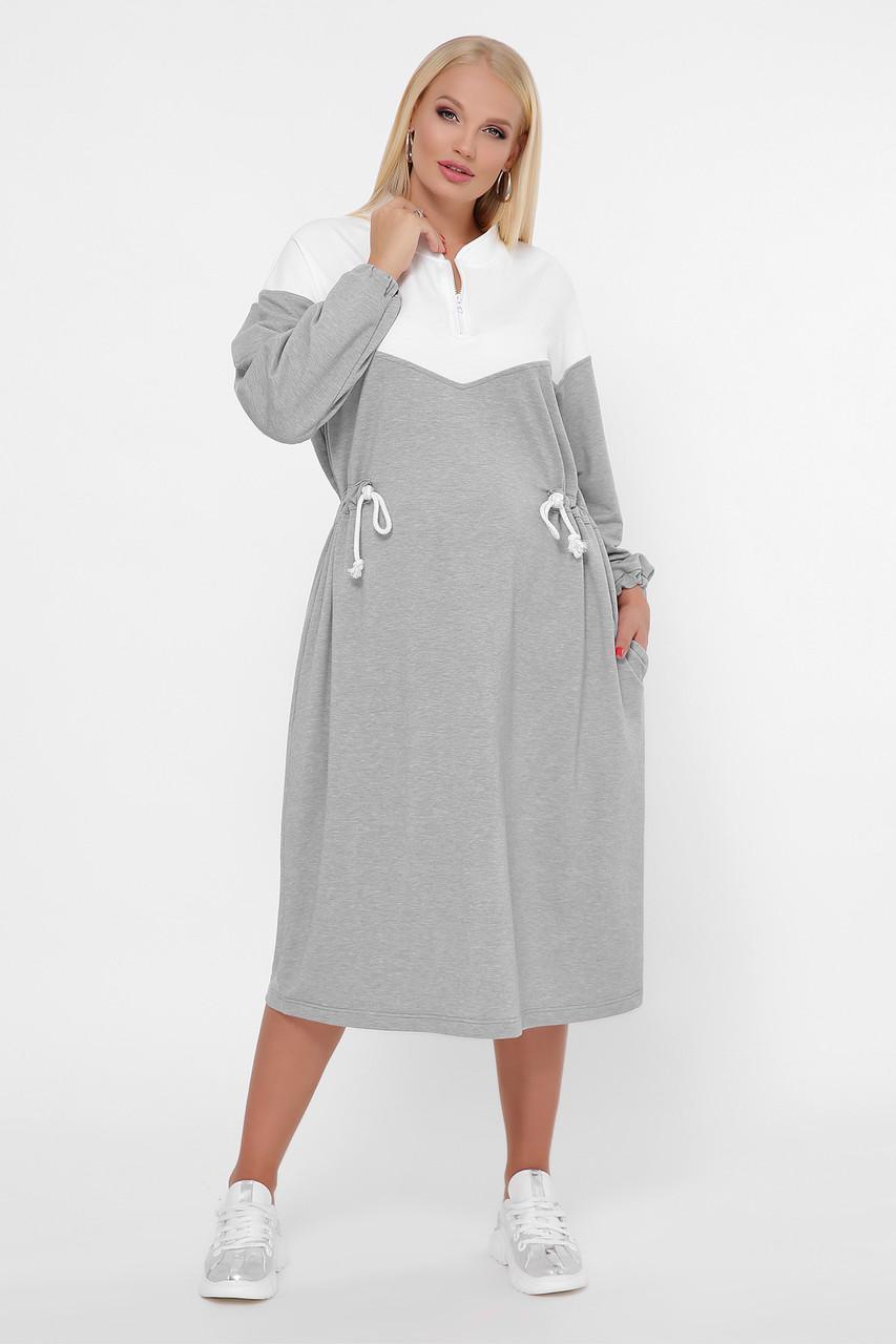 Платье спортивное трикотажное серое 0303