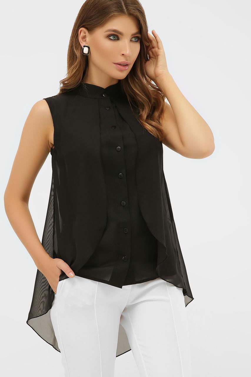 Летняя шифоновая  блуза черная  Санта-Круз б/р