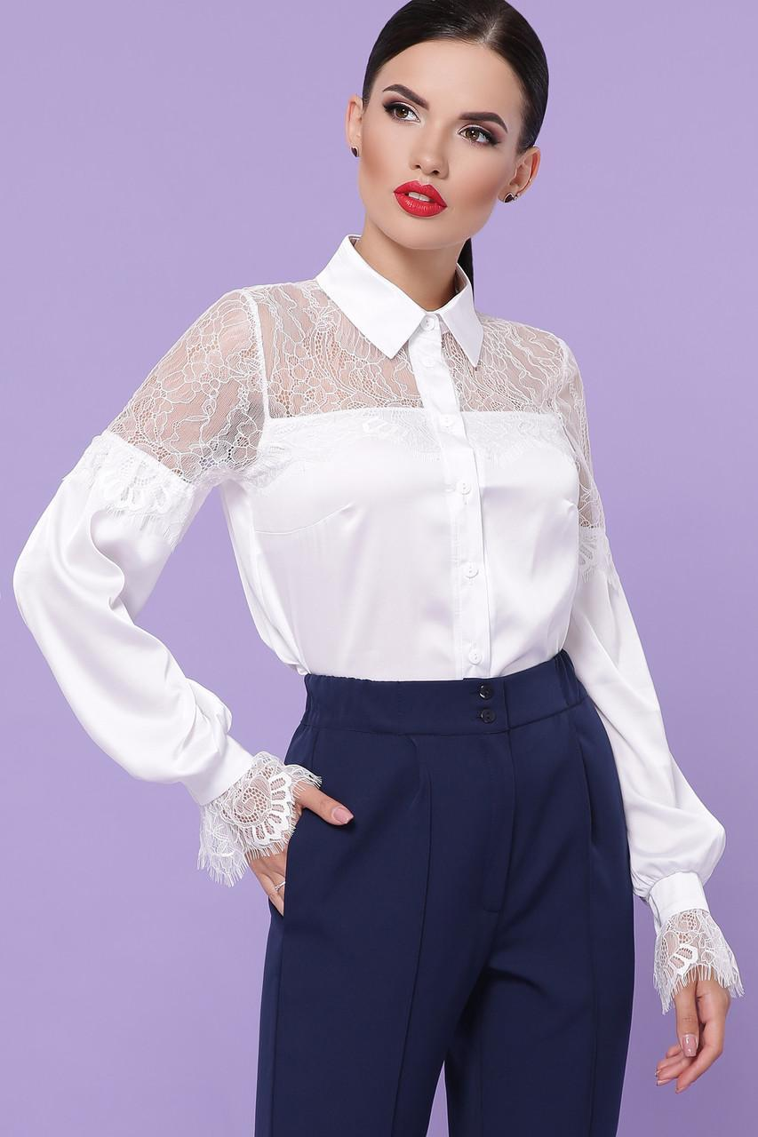 Женская белая  блуза Фарида д/р