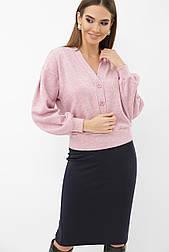 Жіночий ангоровый джемпер на гудзиках рожевий Руана д/р