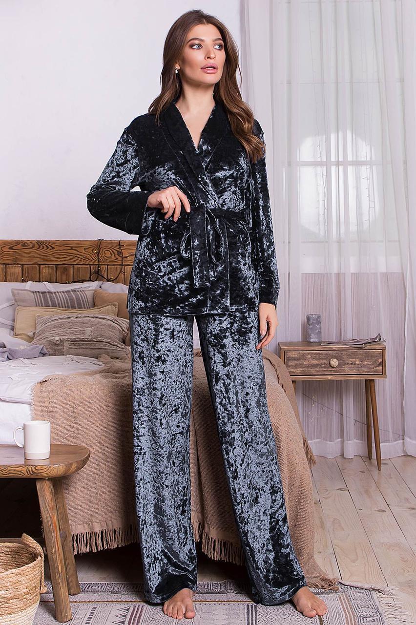Жіночий домашній брючний велюровий костюм Лючі