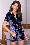 Женский домашний велюровый костюм с шортами   Нурия, фото 2