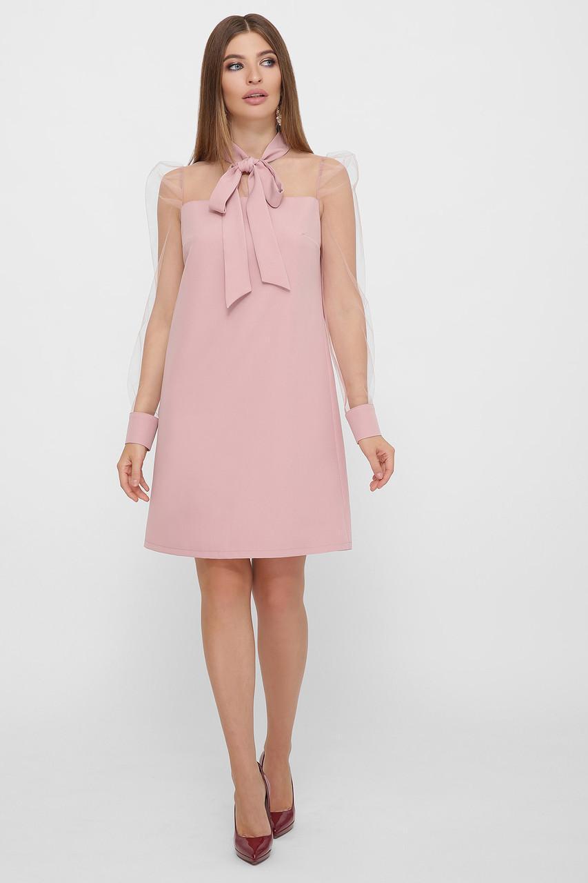 Нарядное розовое платье комбинированное с сеткой Раяна д/р