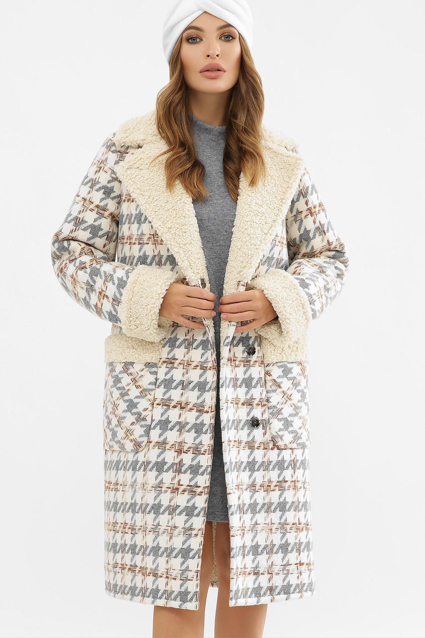 Женское зимнее пальто в клетку  ПД-14-100
