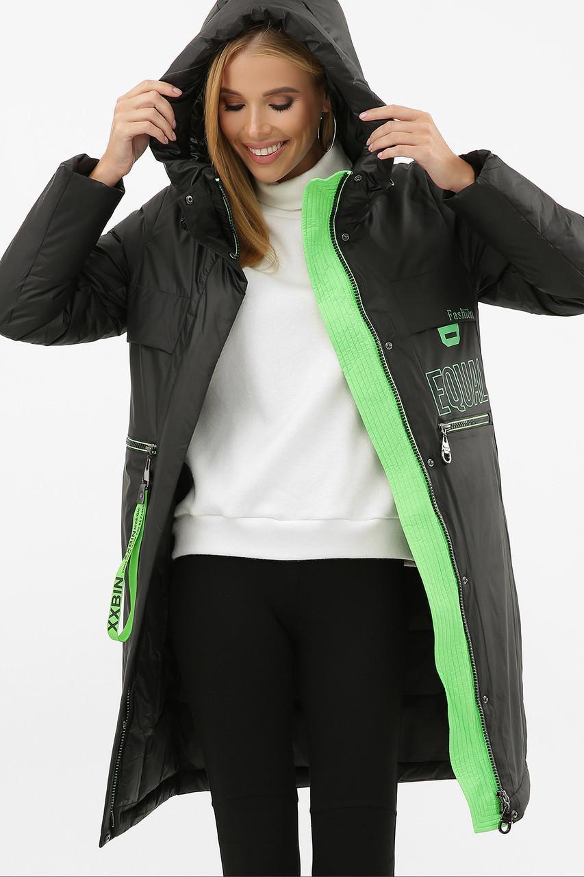 Жіноча зимова куртка подовжена чорно салатна 297