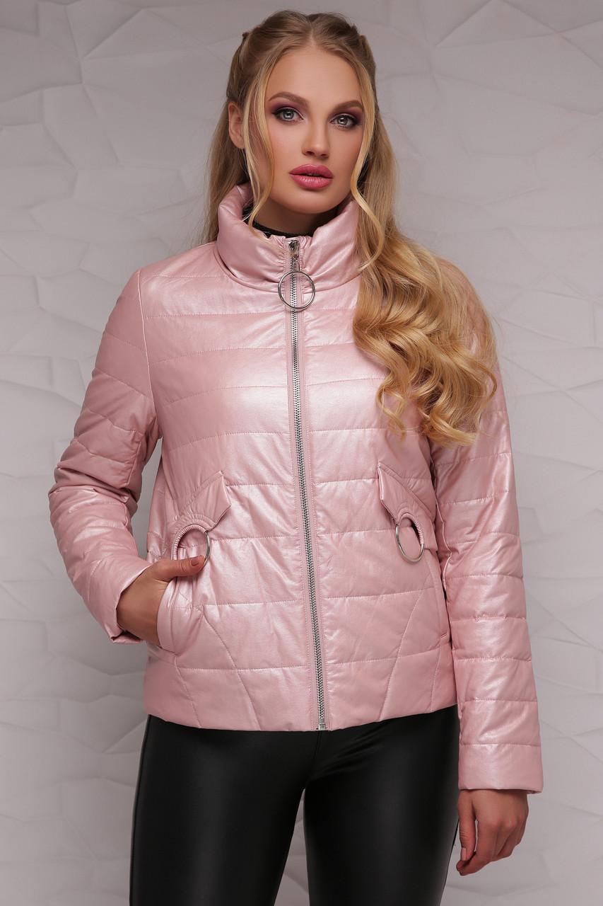 Женская демисезонная розовая куртка короткая  18-126(б)