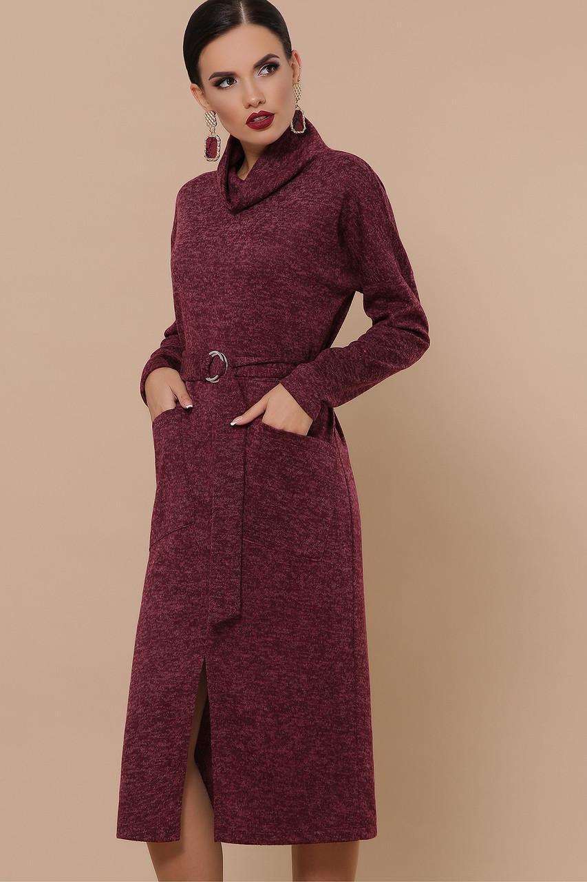 Теплое ангоровое  платье бордо  Дакота д/р