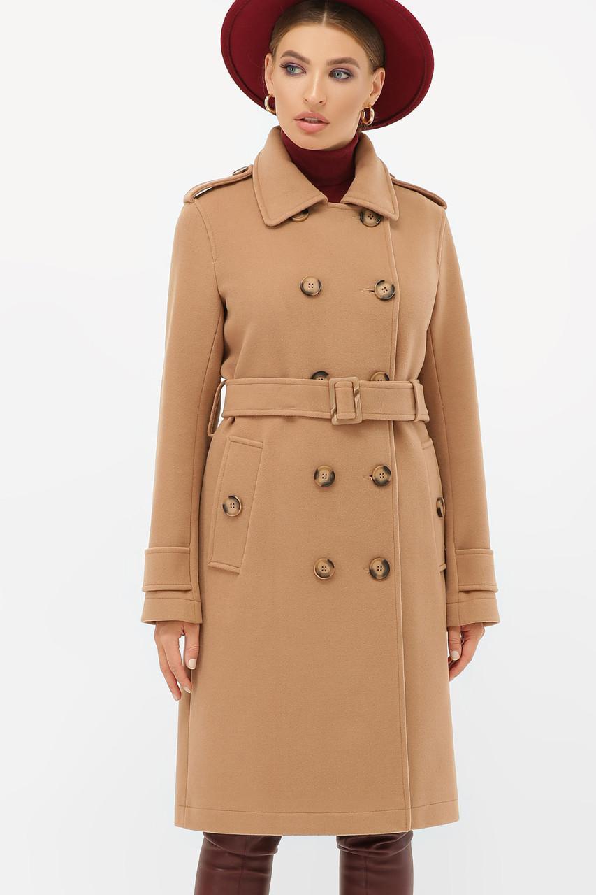 Жіноче демісезонне двобортне пальто-тренч пісочного кольору П-412-100