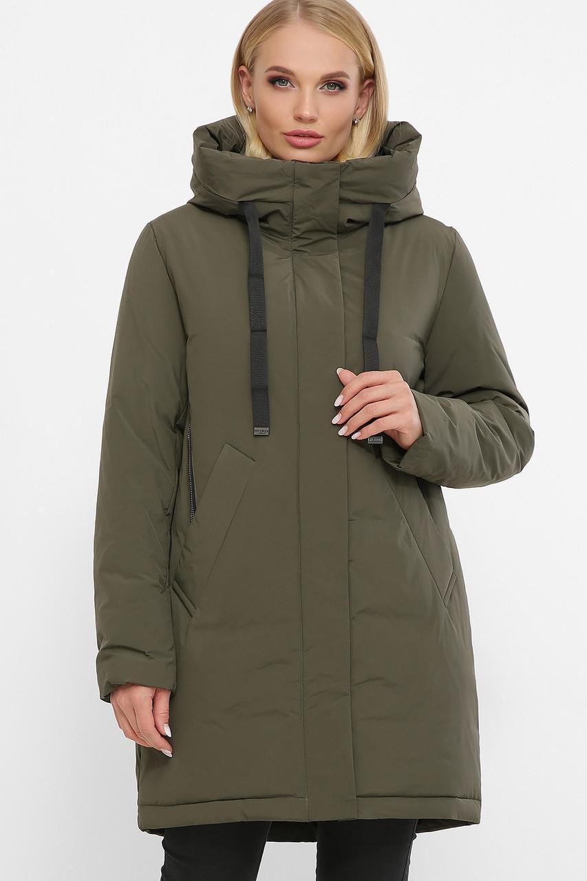 Жіноча зимова куртка без хутра хакі 20133