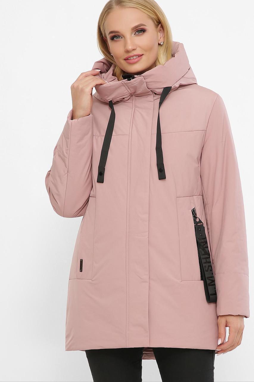 Женская зимняя куртка  без меха  розовая  20141