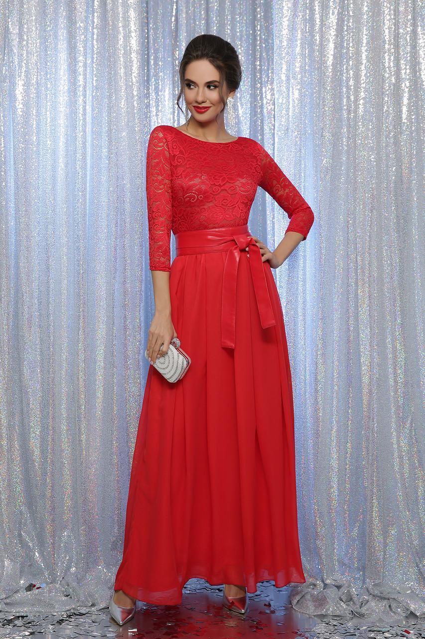 Довге вечірнє плаття атлас з мереживом червоне Маріанна д/р