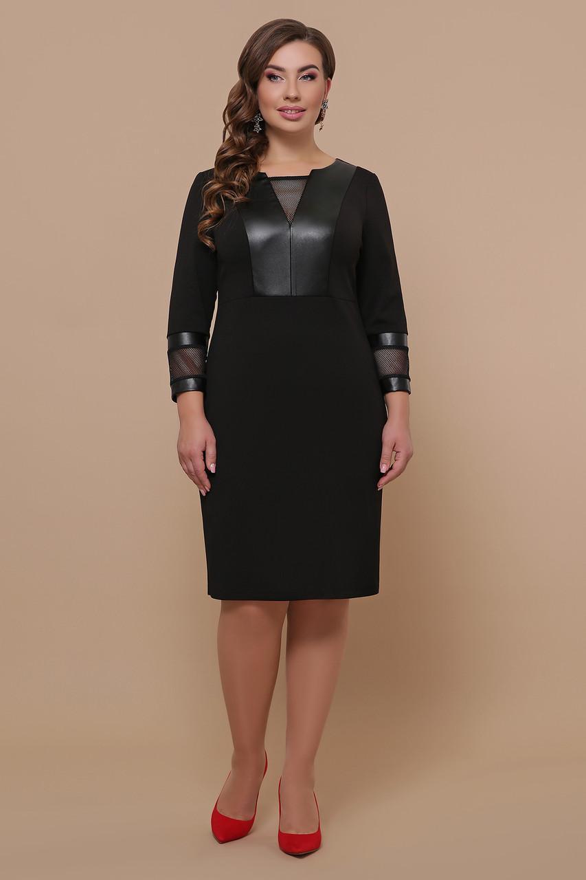 Комбинированное платье из эко кожи с трикотажем и сеткой   Дениз-Б д/р