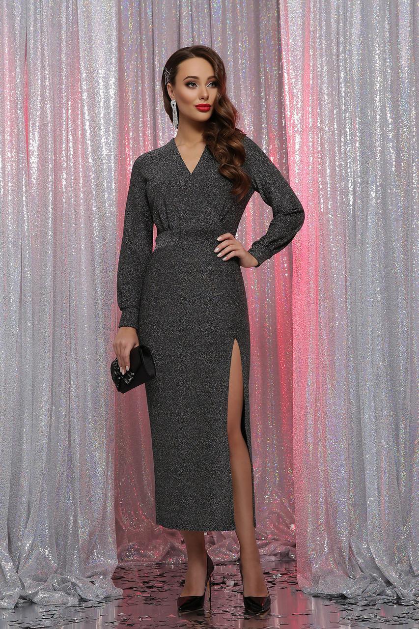 Вечернее длинное  платье из трикотажа люрекс  Цецилия д/р