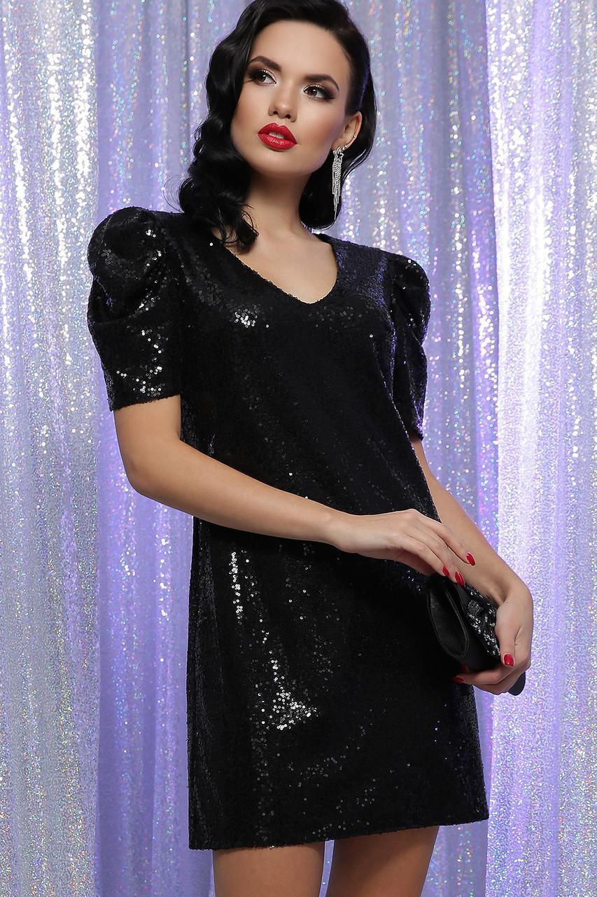 Нарядное  платье в пайетки черное  Элозия к/р