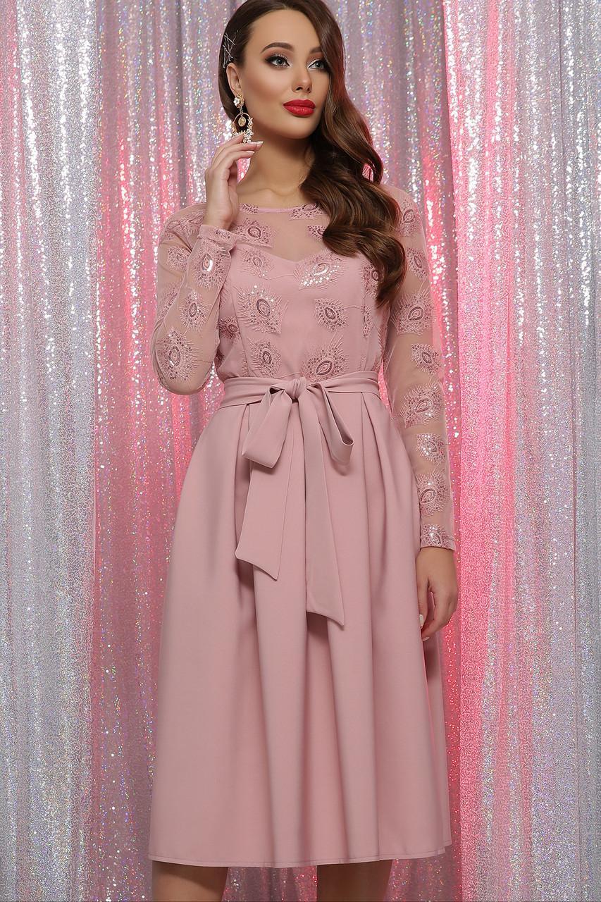 Коктейльное платье с отрезной юбкой розовое Евангелина д/р