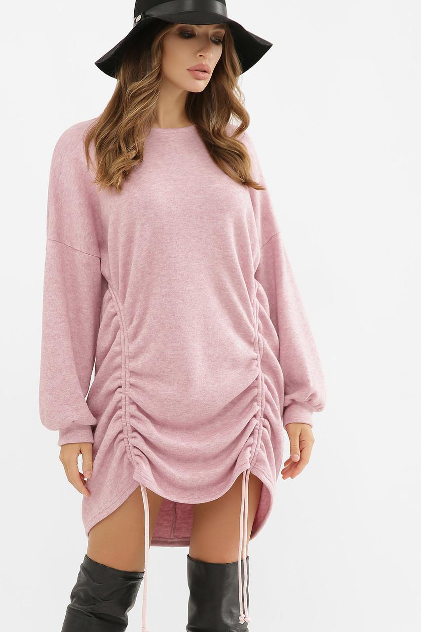 Шерстяное платье со шнуровкой розовое Диля д/р
