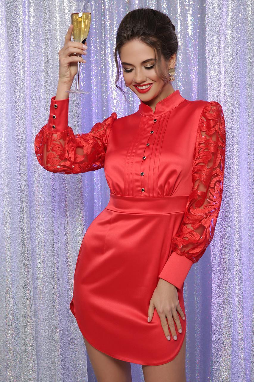 Нарядное атласное  платье  красное Киприда д/р