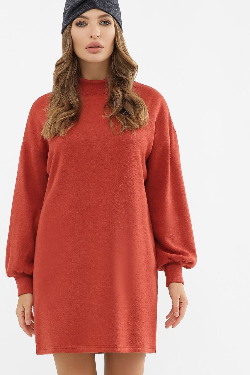 Ангоровое сукня прямого силуету теракотове Таліта д/р
