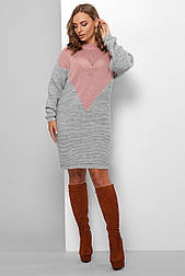 Тепле вызанное коротке плаття сіро рожеве 181
