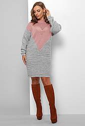 Теплое вызанное короткое  платье серо розовое  181
