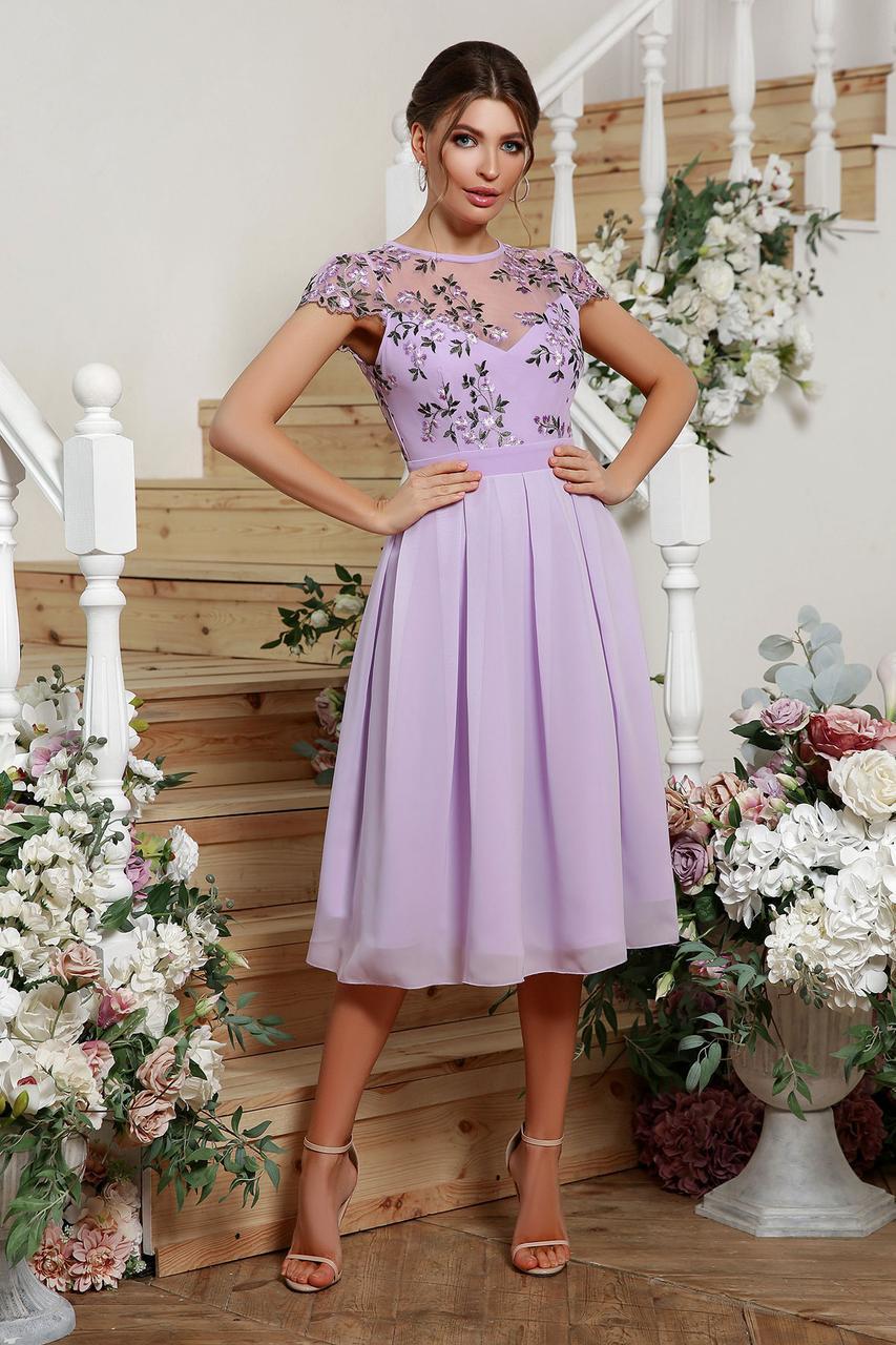 Ошатне плаття з вишивкою і шифоном лілове Айседора б/р