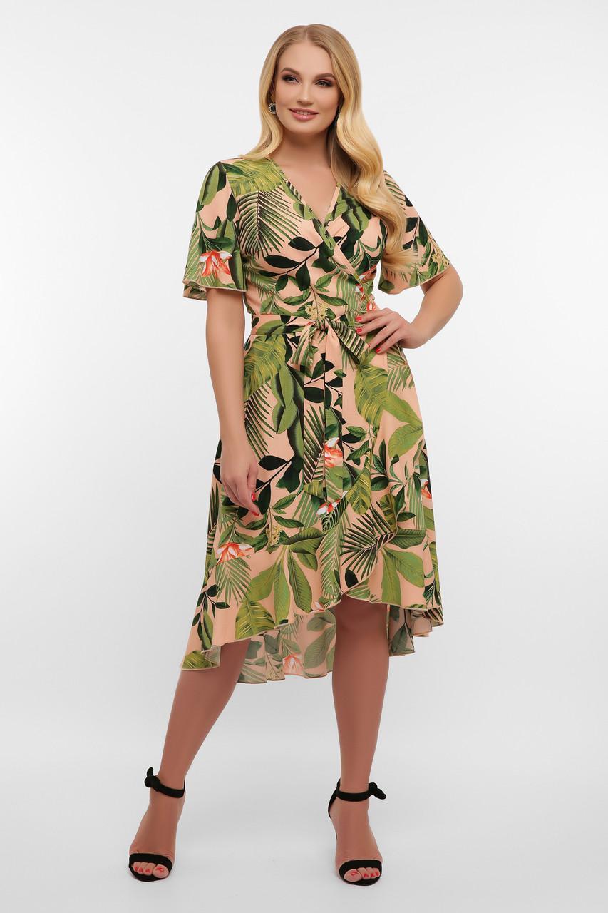 Летнее  платье на запах в цветочный принт Алесия-1Б к/р